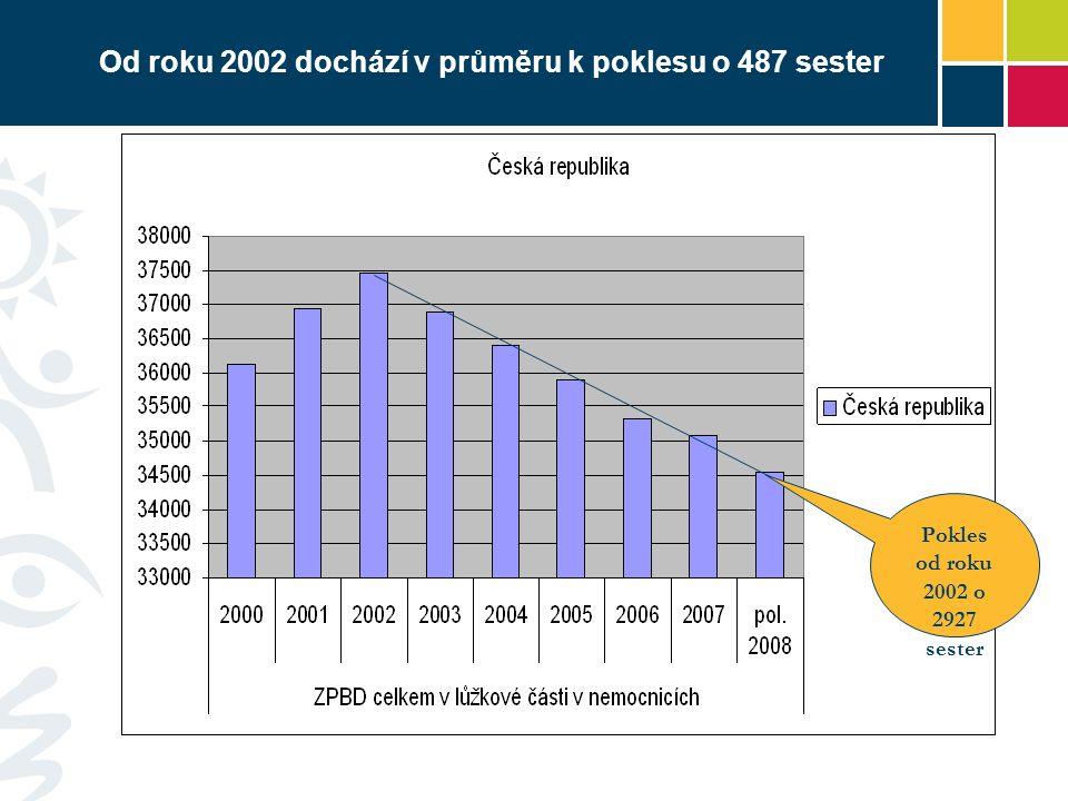 Od roku 2002 dochází v průměru k poklesu o 487 sester Pokles od roku 2002 o 2927 sester