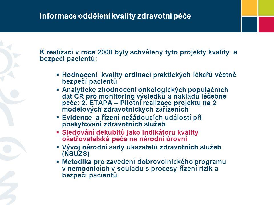 Informace oddělení kvality zdravotní péče K realizaci v roce 2008 byly schváleny tyto projekty kvality a bezpečí pacientů:  Hodnocení kvality ordinací praktických lékařů včetně bezpečí pacientů  Analytické zhodnocení onkologických populačních dat ČR pro monitoring výsledků a nákladů léčebné péče: 2.