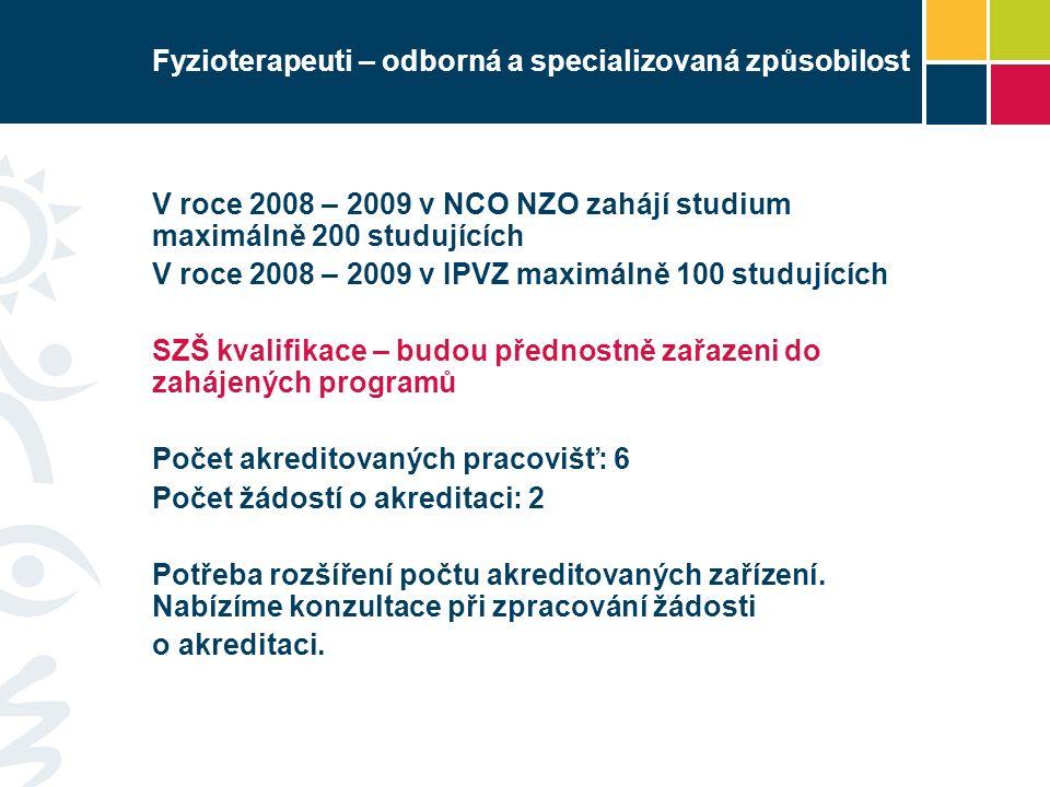Fyzioterapeuti – odborná a specializovaná způsobilost V roce 2008 – 2009 v NCO NZO zahájí studium maximálně 200 studujících V roce 2008 – 2009 v IPVZ maximálně 100 studujících SZŠ kvalifikace – budou přednostně zařazeni do zahájených programů Počet akreditovaných pracovišť: 6 Počet žádostí o akreditaci: 2 Potřeba rozšíření počtu akreditovaných zařízení.