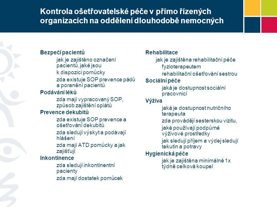 Kontrola ošetřovatelské péče v přímo řízených organizacích na oddělení dlouhodobě nemocných Bezpečí pacientů jak je zajištěno označení pacientů, jaké jsou k dispozici pomůcky zda existuje SOP prevence pádů a poranění pacientů Podávání léků zda mají vypracovaný SOP, způsob zajištění opiátů Prevence dekubitů zda existuje SOP prevence a ošetřování dekubitů zda sledují výskyt a podávají hlášení zda mají ATD pomůcky a jak zajišťují Inkontinence zda sledují inkontinentní pacienty zda mají dostatek pomůcek Rehabilitace jak je zajištěna rehabilitační péče fyzioterapeutem rehabilitační ošetřování sestrou Sociální péče jaká je dostupnost sociální pracovnicí Výživa jaká je dostupnost nutričního terapeuta zda provádějí sesterskou vizitu, jaké používají podpůrné výživové prostředky jak sledují příjem a výdej sledují tekutin a potravy Hygienická péče jak je zajištěna minimálně 1x týdně celková koupel