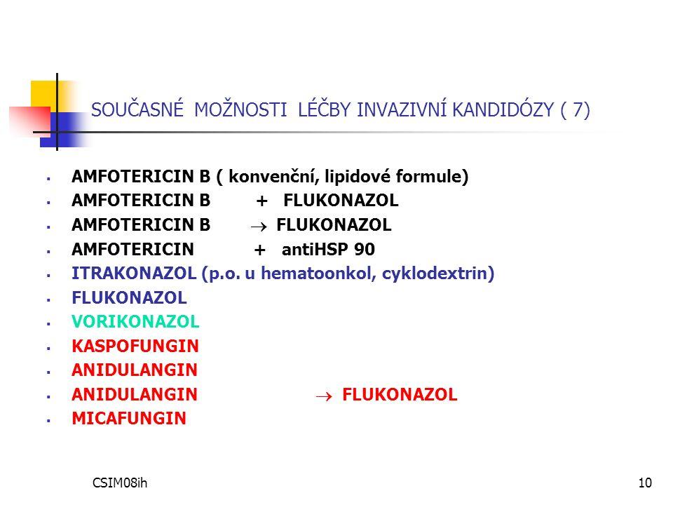 CSIM08ih10 SOUČASNÉ MOŽNOSTI LÉČBY INVAZIVNÍ KANDIDÓZY ( 7)  AMFOTERICIN B ( konvenční, lipidové formule)  AMFOTERICIN B + FLUKONAZOL  AMFOTERICIN B  FLUKONAZOL  AMFOTERICIN + antiHSP 90  ITRAKONAZOL (p.o.