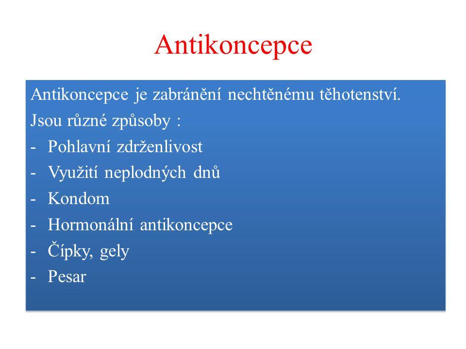 Antikoncepce Antikoncepce je zabránění nechtěnému těhotenství. Jsou různé způsoby : -Pohlavní zdrženlivost -Využití neplodných dnů -Kondom -Hormonální