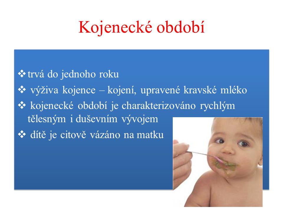 Kojenecké období  trvá do jednoho roku  výživa kojence – kojení, upravené kravské mléko  kojenecké období je charakterizováno rychlým tělesným i duševním vývojem  dítě je citově vázáno na matku  trvá do jednoho roku  výživa kojence – kojení, upravené kravské mléko  kojenecké období je charakterizováno rychlým tělesným i duševním vývojem  dítě je citově vázáno na matku