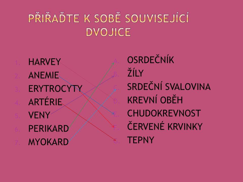 1. HARVEY 2. ANEMIE 3. ERYTROCYTY 4. ARTÉRIE 5.