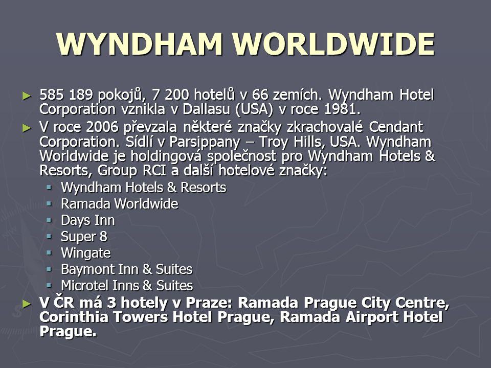 WYNDHAM WORLDWIDE ► 585 189 pokojů, 7 200 hotelů v 66 zemích. Wyndham Hotel Corporation vznikla v Dallasu (USA) v roce 1981. ► V roce 2006 převzala ně