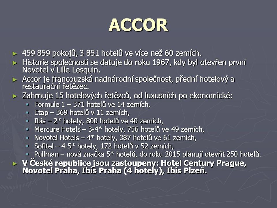 ACCOR ► 459 859 pokojů, 3 851 hotelů ve více než 60 zemích.