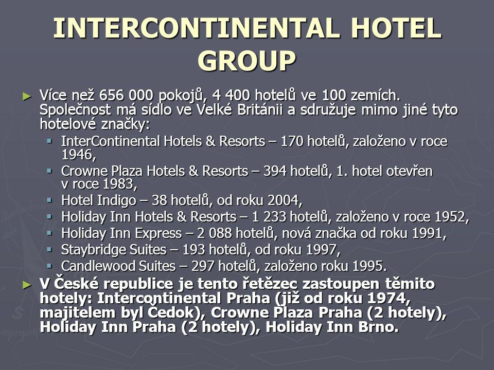 INTERCONTINENTAL HOTEL GROUP ► Více než 656 000 pokojů, 4 400 hotelů ve 100 zemích.