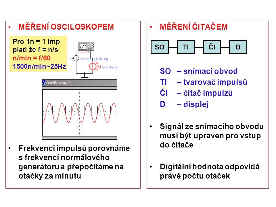 MĚŘENÍ OSCILOSKOPEM Frekvenci impulsů porovnáme s frekvencí normálového generátoru a přepočítáme na otáčky za minutu MĚŘENÍ ČITAČEM SO – snímací obvod