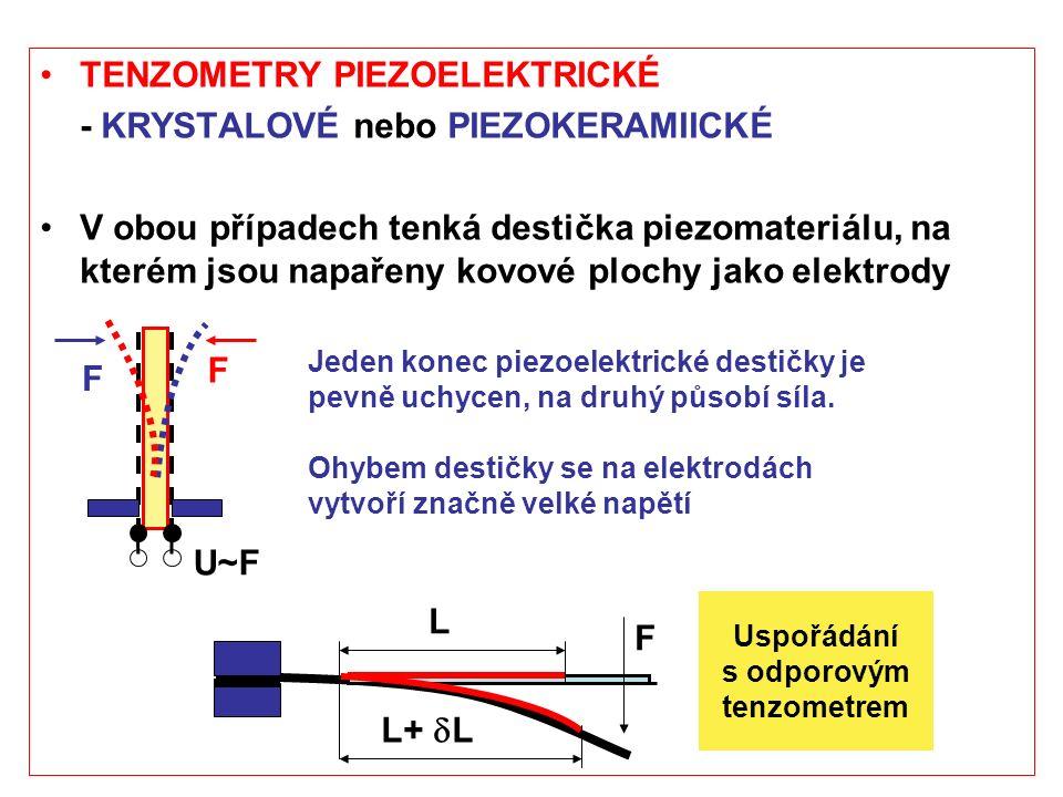 TENZOMETRY PIEZOELEKTRICKÉ - KRYSTALOVÉ nebo PIEZOKERAMIICKÉ V obou případech tenká destička piezomateriálu, na kterém jsou napařeny kovové plochy jak