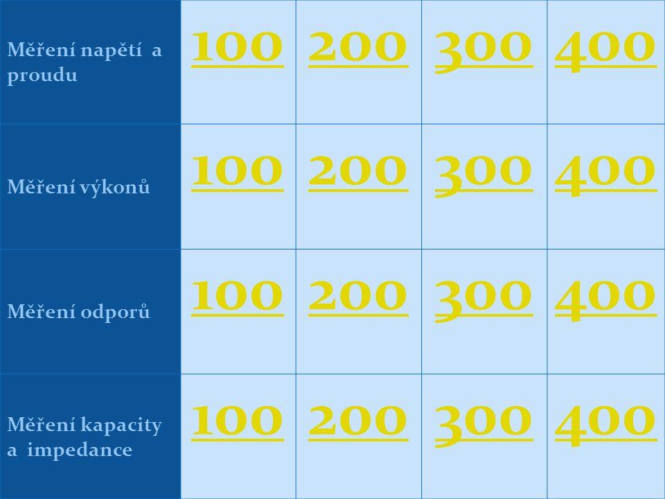 Měření napětí a proudu 100200300400 Měření výkonů 100200300400 Měření odporů 100200300400 Měření kapacity a impedance 100200300400