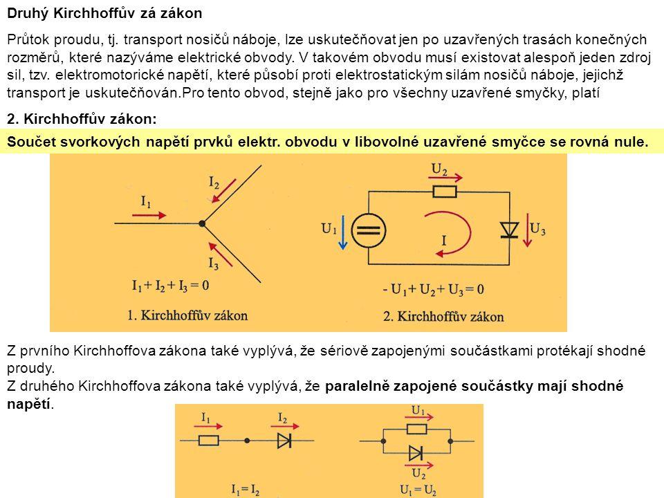 Druhý Kirchhoffův zá zákon Průtok proudu, tj.
