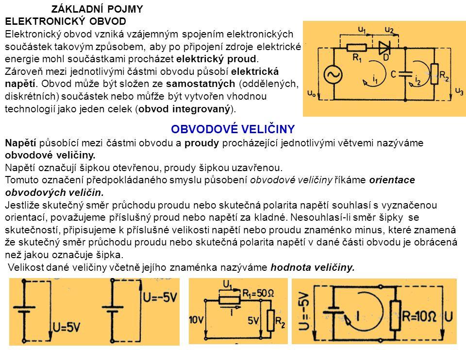 ZÁKLADNÍ POJMY ELEKTRONICKÝ OBVOD Elektronický obvod vzniká vzájemným spojením elektronických součástek takovým způsobem, aby po připojení zdroje elektrické energie mohl součástkami procházet elektrický proud.