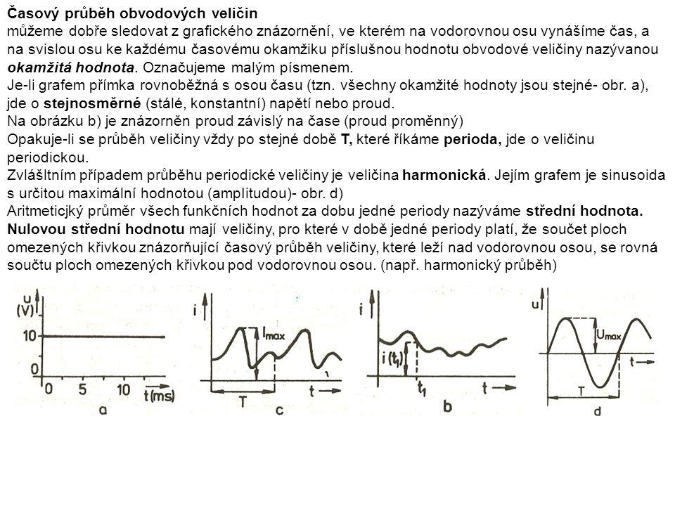 Časový průběh obvodových veličin můžeme dobře sledovat z grafického znázornění, ve kterém na vodorovnou osu vynášíme čas, a na svislou osu ke každému časovému okamžiku příslušnou hodnotu obvodové veličiny nazývanou okamžitá hodnota.