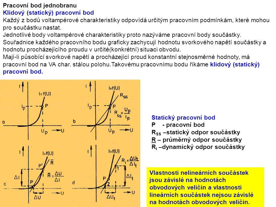 Pracovní bod jednobranu Klidový (statický) pracovní bod Každý z bodů voltampérové charakteristiky odpovídá určitým pracovním podmínkám, které mohou pro součástku nastat.