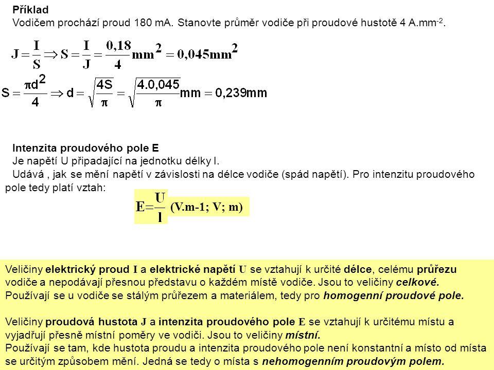 Příklad Vodičem prochází proud 180 mA. Stanovte průměr vodiče při proudové hustotě 4 A.mm -2.