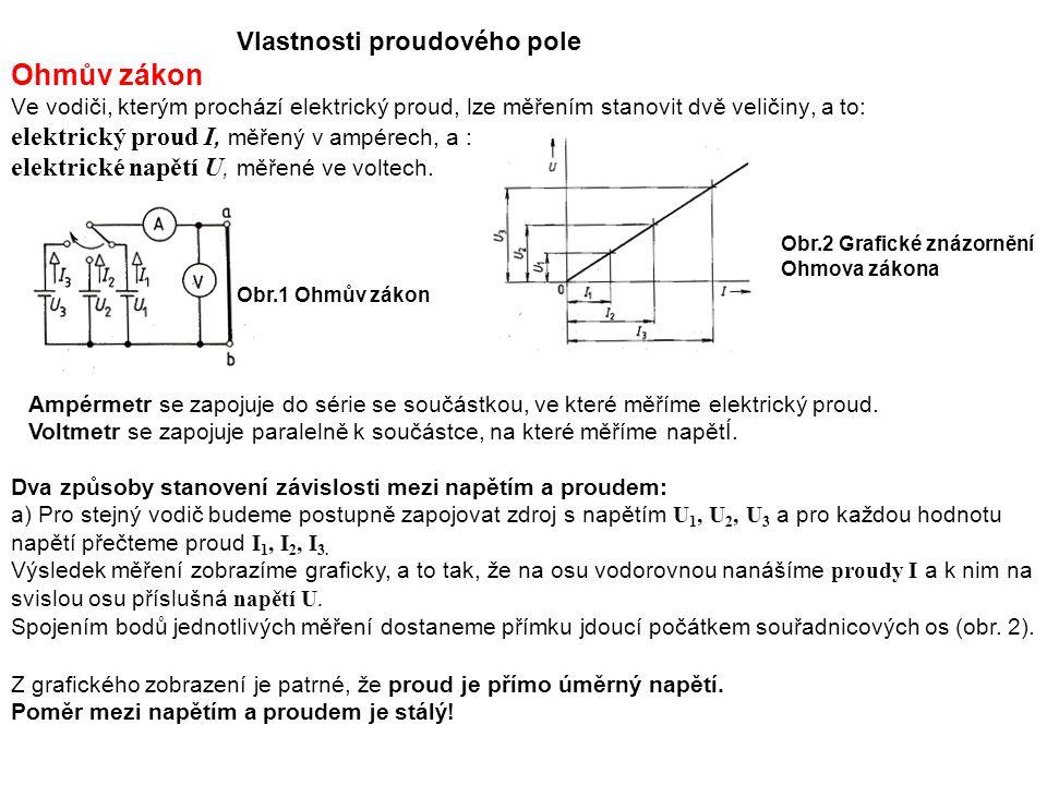Vlastnosti proudového pole Ohmův zákon Ve vodiči, kterým prochází elektrický proud, lze měřením stanovit dvě veličiny, a to: elektrický proud I, měřený v ampérech, a : elektrické napětí U, měřené ve voltech.