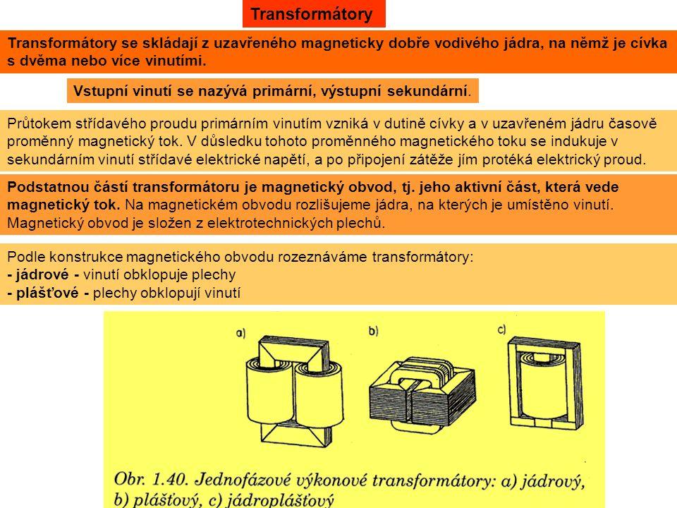 Podle konstrukce magnetického obvodu rozeznáváme transformátory: - jádrové - vinutí obklopuje plechy - plášťové - plechy obklopují vinutí Transformátory Transformátory se skládají z uzavřeného magneticky dobře vodivého jádra, na němž je cívka s dvěma nebo více vinutími.