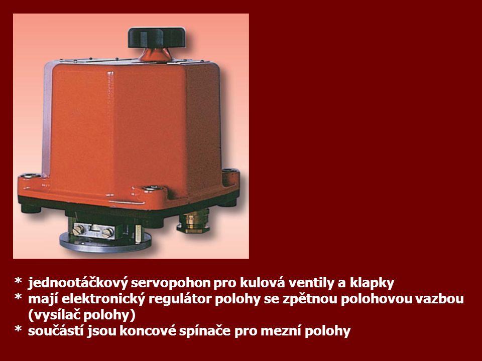 *jednootáčkový servopohon pro kulová ventily a klapky *mají elektronický regulátor polohy se zpětnou polohovou vazbou (vysílač polohy) *součástí jsou koncové spínače pro mezní polohy