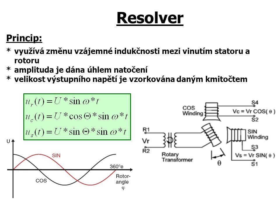 Resolver Princip: *využívá změnu vzájemné indukčnosti mezi vinutím statoru a rotoru *amplituda je dána úhlem natočení *velikost výstupního napětí je v