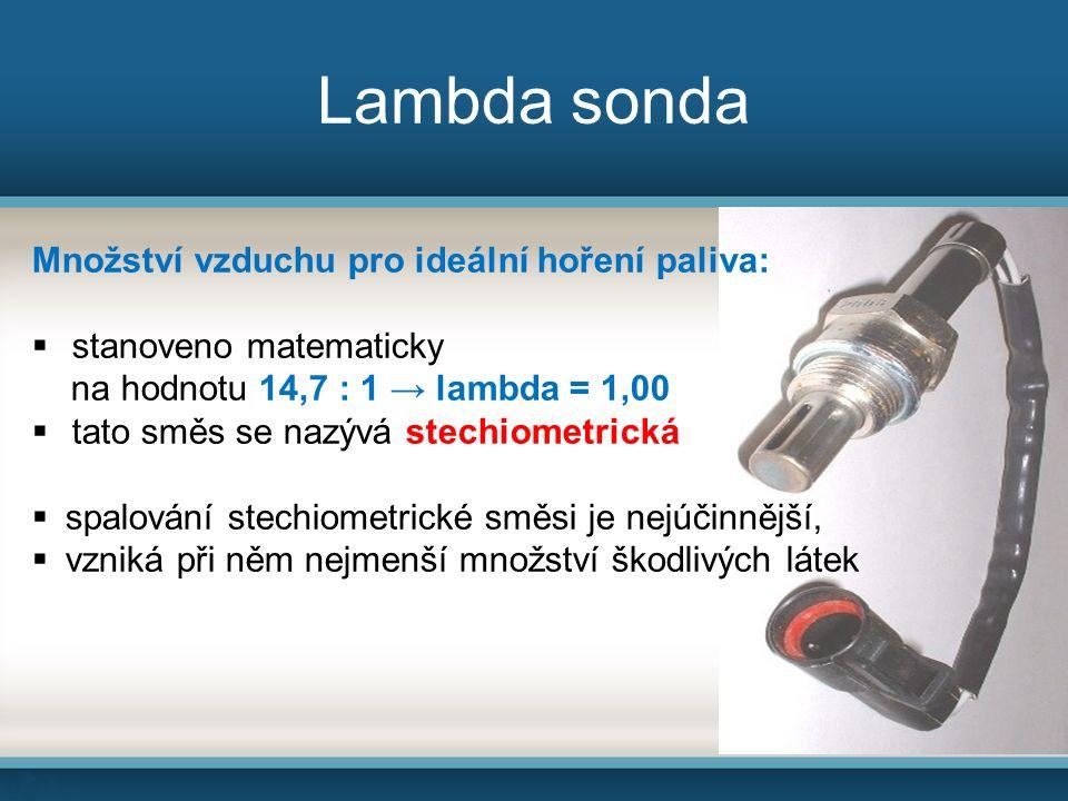 Množství vzduchu pro ideální hoření paliva:  stanoveno matematicky na hodnotu 14,7 : 1 → lambda = 1,00  tato směs se nazývá stechiometrická  spalování stechiometrické směsi je nejúčinnější,  vzniká při něm nejmenší množství škodlivých látek