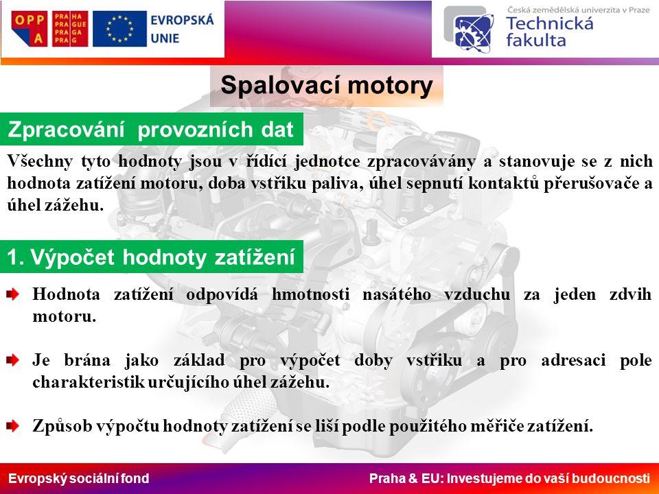 Evropský sociální fond Praha & EU: Investujeme do vaší budoucnosti Spalovací motory Zpracování provozních dat Všechny tyto hodnoty jsou v řídící jednotce zpracovávány a stanovuje se z nich hodnota zatížení motoru, doba vstřiku paliva, úhel sepnutí kontaktů přerušovače a úhel zážehu.