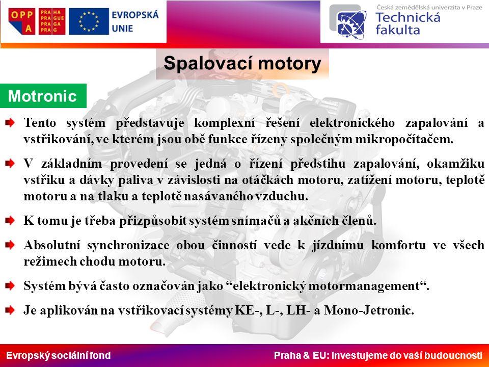 Evropský sociální fond Praha & EU: Investujeme do vaší budoucnosti Spalovací motory Přizpůsobení provozním stavům V některých provozních stavech se potřeba paliva velmi odlišuje od stacionární potřeby zahřátého motoru.