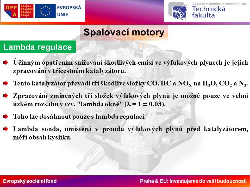 Evropský sociální fond Praha & EU: Investujeme do vaší budoucnosti Spalovací motory Lambda regulace Účinným opatřením snižování škodlivých emisí ve výfukových plynech je jejich zpracování v třícestném katalyzátoru.