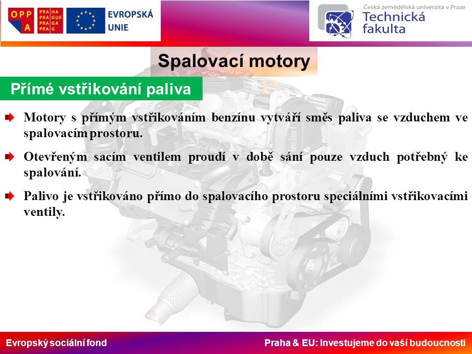 Evropský sociální fond Praha & EU: Investujeme do vaší budoucnosti Spalovací motory Přímé vstřikování paliva Motory s přímým vstřikováním benzínu vytváří směs paliva se vzduchem ve spalovacím prostoru.