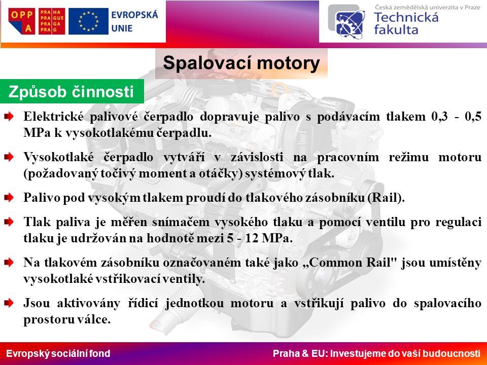 Evropský sociální fond Praha & EU: Investujeme do vaší budoucnosti Spalovací motory Způsob činnosti Elektrické palivové čerpadlo dopravuje palivo s podávacím tlakem 0,3 - 0,5 MPa k vysokotlakému čerpadlu.