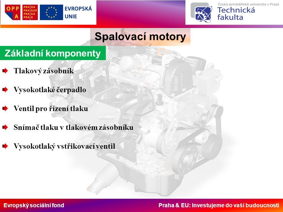 Evropský sociální fond Praha & EU: Investujeme do vaší budoucnosti Spalovací motory Základní komponenty Tlakový zásobník Vysokotlaké čerpadlo Ventil pro řízení tlaku Snímač tlaku v tlakovém zásobníku Vysokotlaký vstřikovací ventil