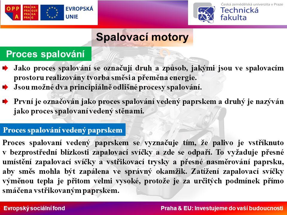 Evropský sociální fond Praha & EU: Investujeme do vaší budoucnosti Spalovací motory Proces spalování Jako proces spalování se označují druh a způsob, jakými jsou ve spalovacím prostoru realizovány tvorba směsi a přeměna energie.