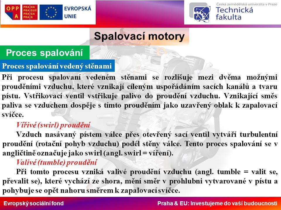 Evropský sociální fond Praha & EU: Investujeme do vaší budoucnosti Spalovací motory Proces spalování Proces spalování vedený stěnami Při procesu spalovaní vedeném stěnami se rozlišuje mezi dvěma možnými prouděními vzduchu, které vznikají cíleným uspořádáním sacích kanálů a tvaru pístu.