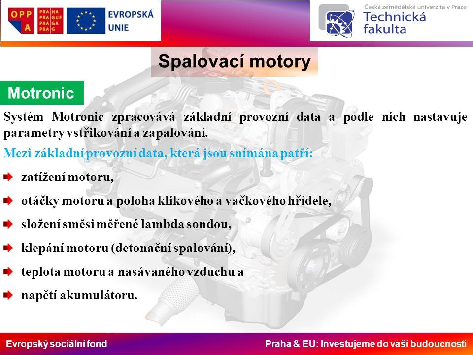 Evropský sociální fond Praha & EU: Investujeme do vaší budoucnosti Spalovací motory Druhá generace přímého vstřikování Přesné umístění piezovstřikovače a zapalovací svíčky v konkrétním podání od firmy BMW je znázorněno na obr.