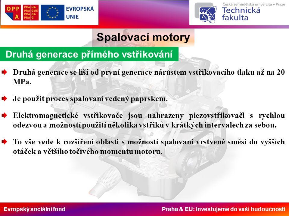 Evropský sociální fond Praha & EU: Investujeme do vaší budoucnosti Spalovací motory Druhá generace přímého vstřikování Druhá generace se liší od první generace nárůstem vstřikovacího tlaku až na 20 MPa.
