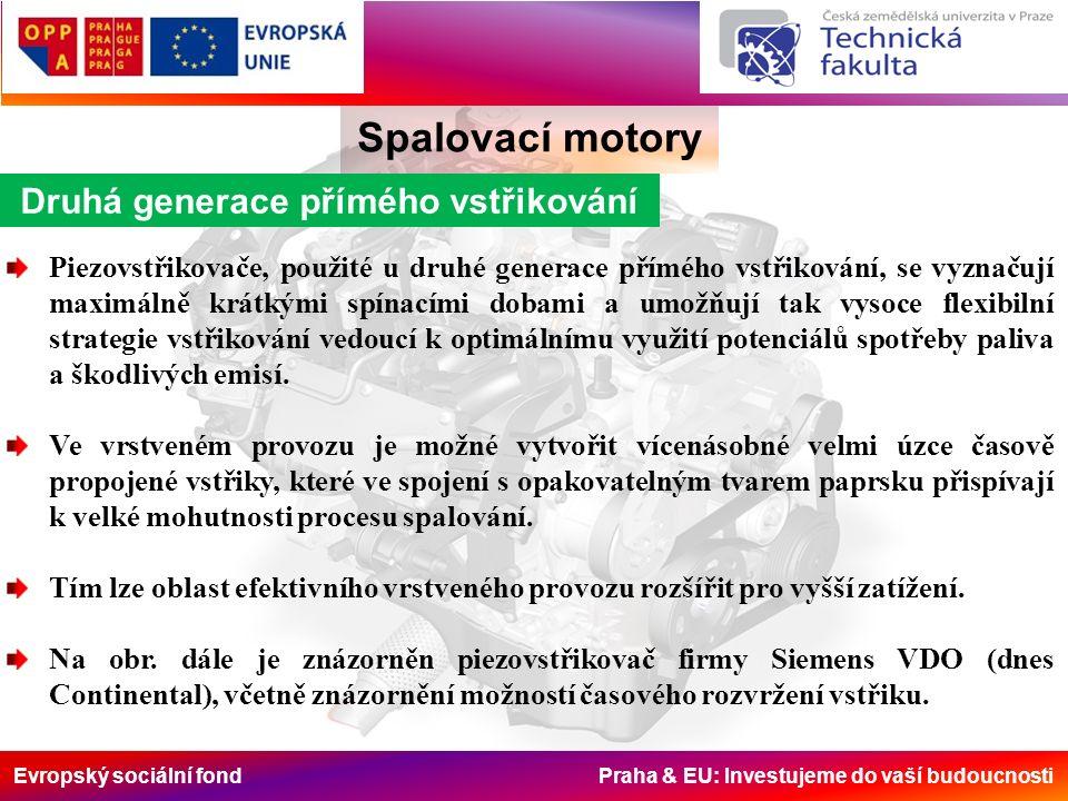 Evropský sociální fond Praha & EU: Investujeme do vaší budoucnosti Spalovací motory Druhá generace přímého vstřikování Piezovstřikovače, použité u druhé generace přímého vstřikování, se vyznačují maximálně krátkými spínacími dobami a umožňují tak vysoce flexibilní strategie vstřikování vedoucí k optimálnímu využití potenciálů spotřeby paliva a škodlivých emisí.