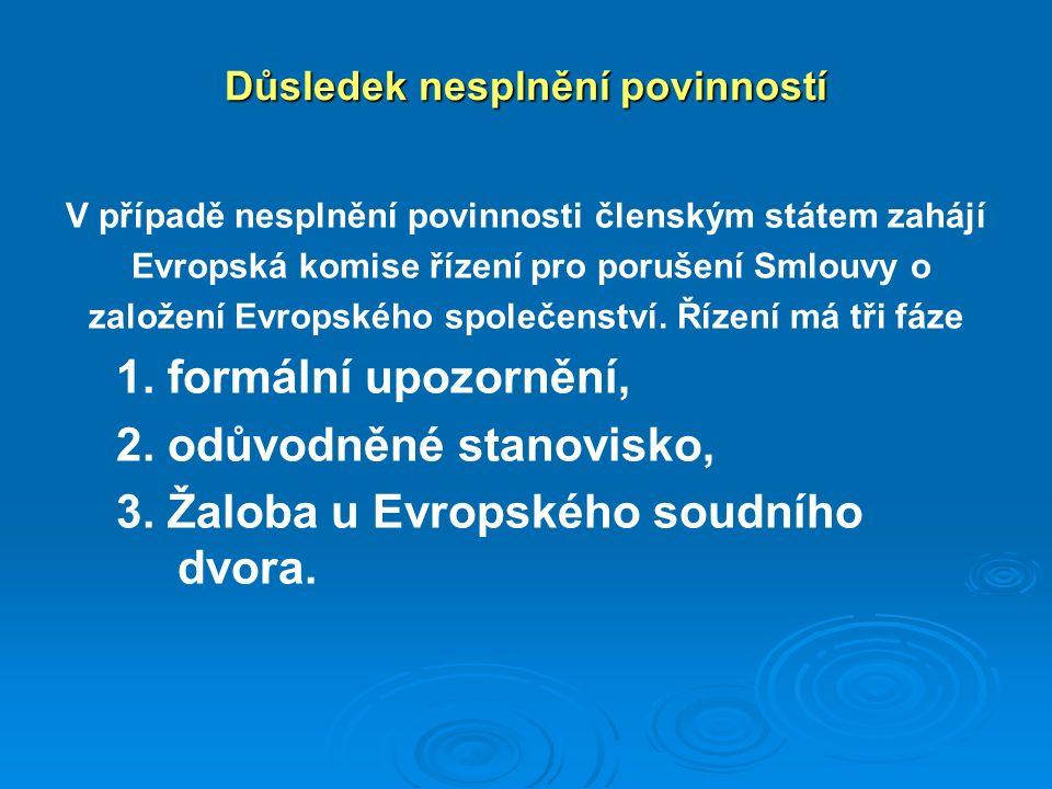 Důsledek nesplnění povinností V případě nesplnění povinnosti členským státem zahájí Evropská komise řízení pro porušení Smlouvy o založení Evropského společenství.