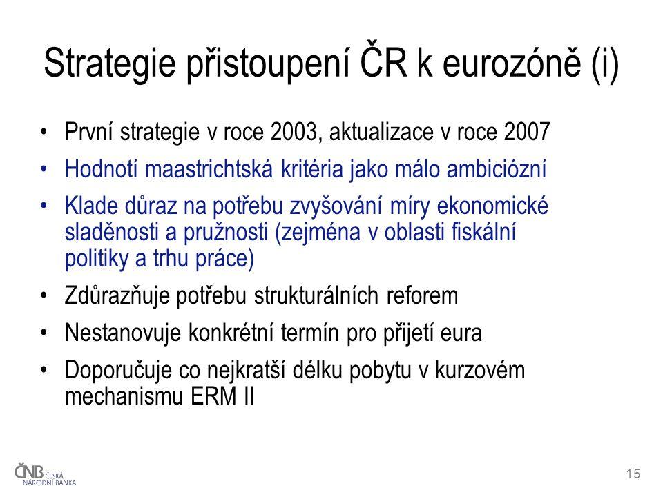 15 Strategie přistoupení ČR k eurozóně (i) První strategie v roce 2003, aktualizace v roce 2007 Hodnotí maastrichtská kritéria jako málo ambiciózní Klade důraz na potřebu zvyšování míry ekonomické sladěnosti a pružnosti (zejména v oblasti fiskální politiky a trhu práce) Zdůrazňuje potřebu strukturálních reforem Nestanovuje konkrétní termín pro přijetí eura Doporučuje co nejkratší délku pobytu v kurzovém mechanismu ERM II