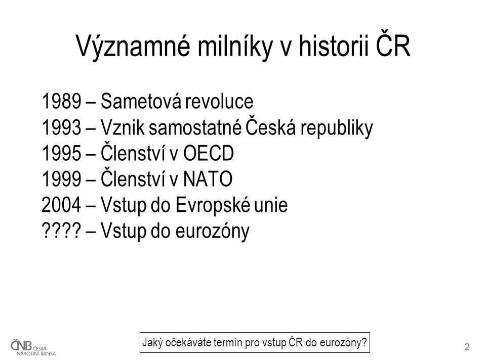 2 Významné milníky v historii ČR Jaký očekáváte termín pro vstup ČR do eurozóny.