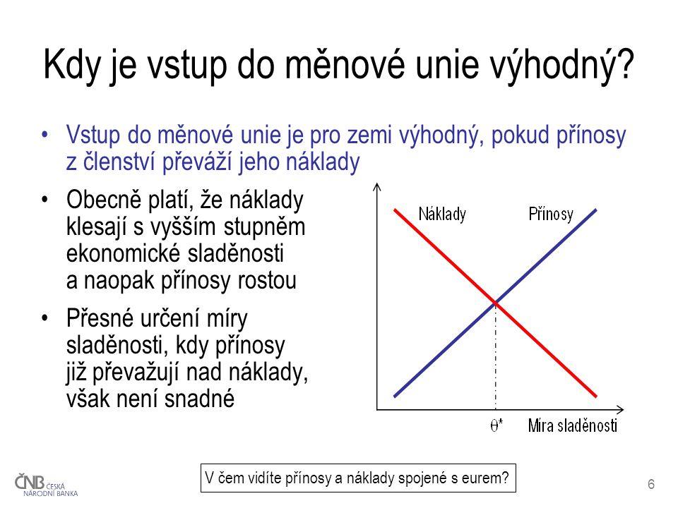 6 Kdy je vstup do měnové unie výhodný? Vstup do měnové unie je pro zemi výhodný, pokud přínosy z členství převáží jeho náklady Obecně platí, že náklad