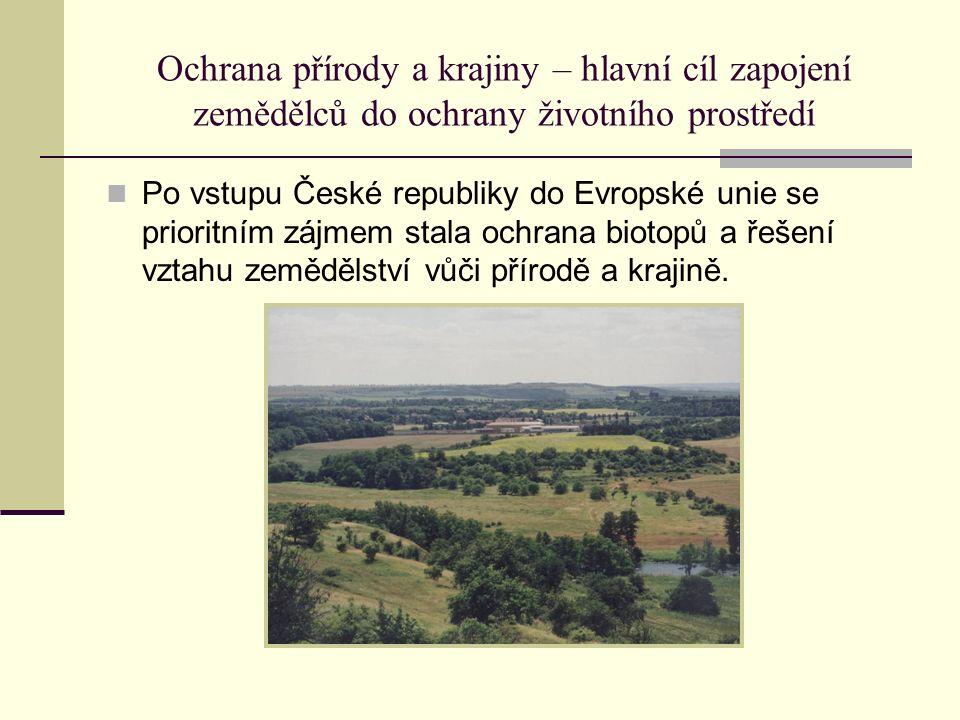 Ochrana přírody a krajiny – hlavní cíl zapojení zemědělců do ochrany životního prostředí Po vstupu České republiky do Evropské unie se prioritním zájmem stala ochrana biotopů a řešení vztahu zemědělství vůči přírodě a krajině.