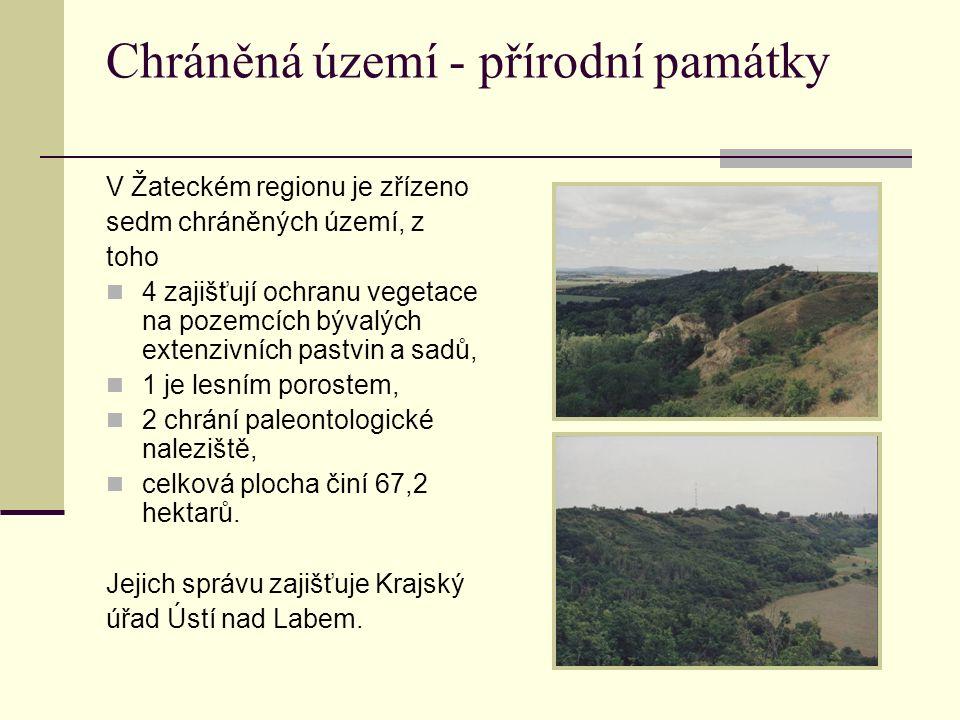 Chráněná území - přírodní památky V Žateckém regionu je zřízeno sedm chráněných území, z toho 4 zajišťují ochranu vegetace na pozemcích bývalých exten