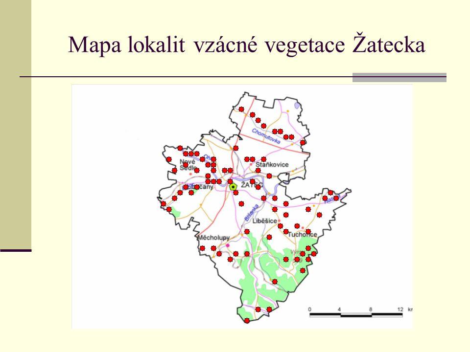Mapa lokalit vzácné vegetace Žatecka