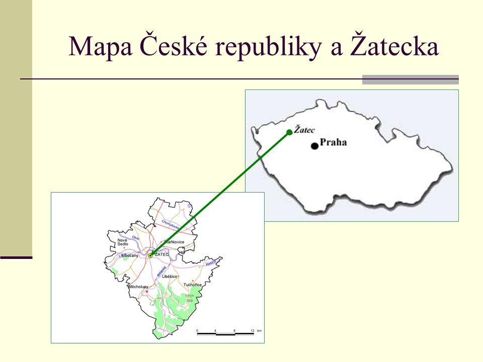 Mapa České republiky a Žatecka