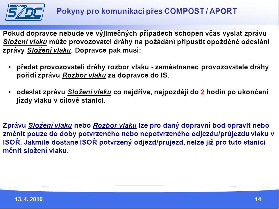 13. 4. 201014 Pokyny pro komunikaci přes COMPOST / APORT Pokud dopravce nebude ve výjimečných případech schopen včas vyslat zprávu Složení vlaku může