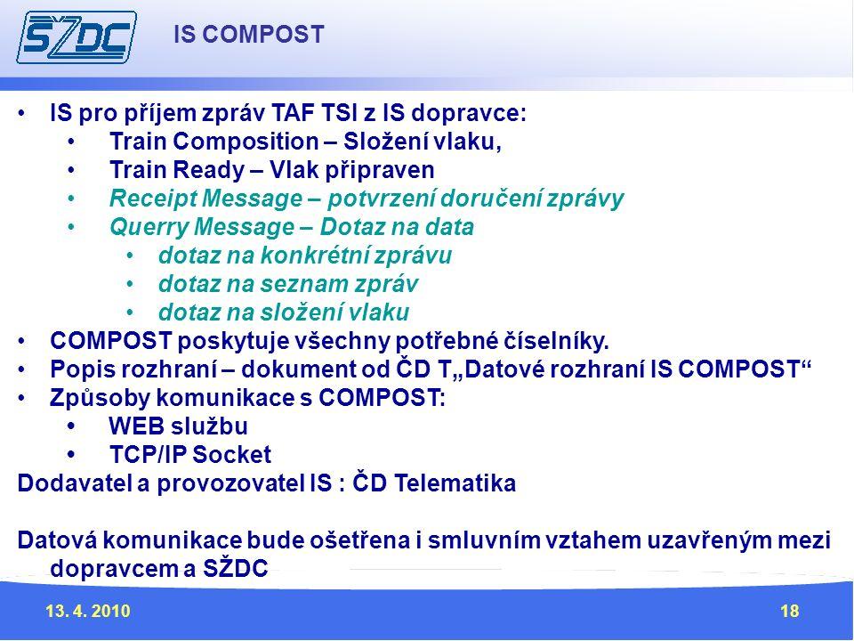 13. 4. 201018 IS pro příjem zpráv TAF TSI z IS dopravce: Train Composition – Složení vlaku, Train Ready – Vlak připraven Receipt Message – potvrzení d