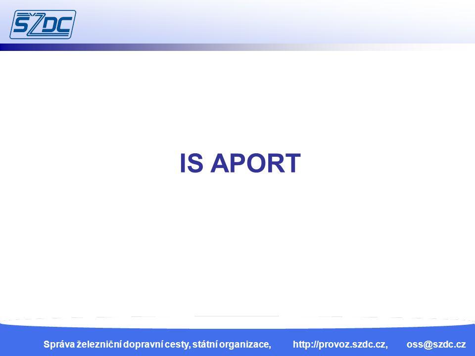 13. 4. 201019 Správa železniční dopravní cesty, státní organizace, http://provoz.szdc.cz, oss@szdc.cz IS APORT