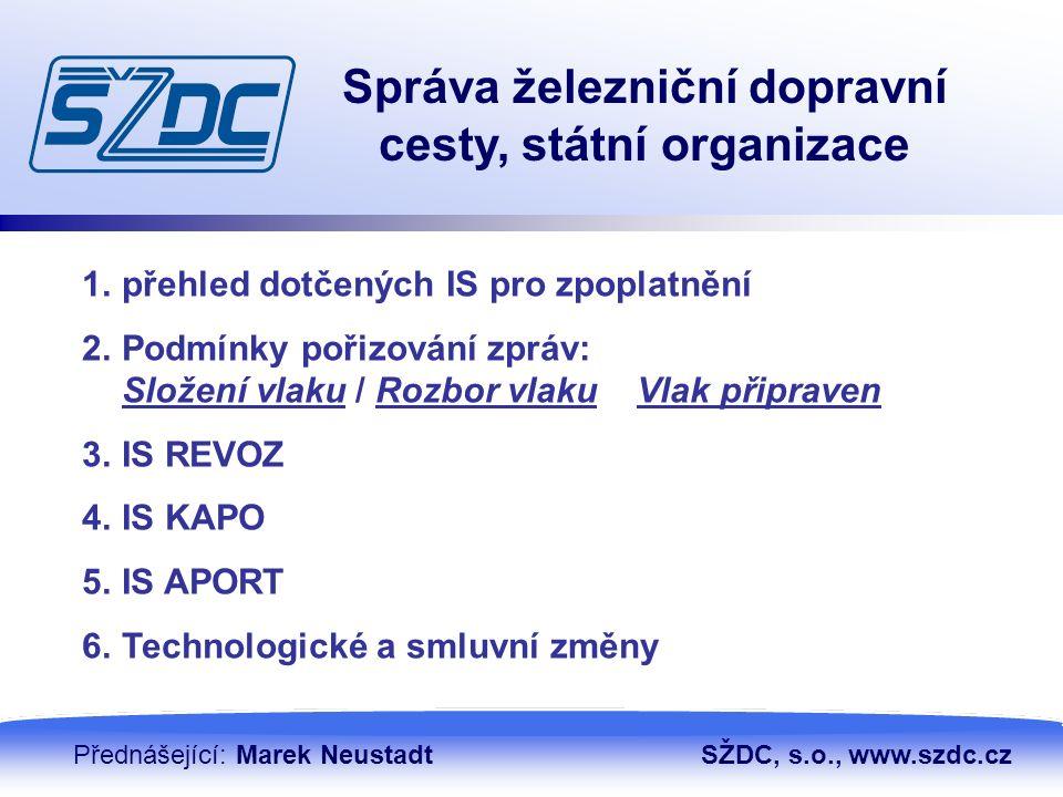 13. 4. 20102 Správa železniční dopravní cesty, státní organizace Přednášející: Marek NeustadtSŽDC, s.o., www.szdc.cz 1.přehled dotčených IS pro zpopla