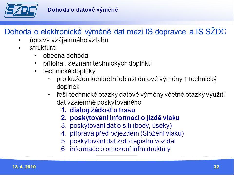 13. 4. 201032 Dohoda o elektronické výměně dat mezi IS dopravce a IS SŽDC úprava vzájemného vztahu struktura obecná dohoda příloha : seznam technickýc