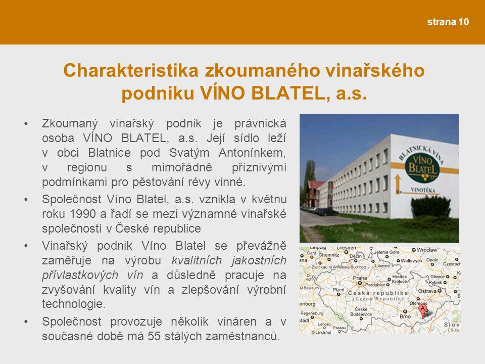 Charakteristika zkoumaného vinařského podniku VÍNO BLATEL, a.s.