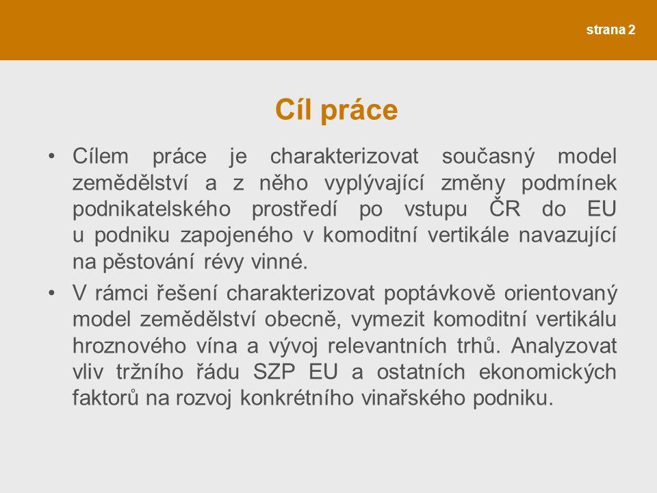 strana 2 Cíl práce Cílem práce je charakterizovat současný model zemědělství a z něho vyplývající změny podmínek podnikatelského prostředí po vstupu ČR do EU u podniku zapojeného v komoditní vertikále navazující na pěstování révy vinné.